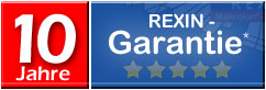 10 Jahre Rexin-Garantie, Klick auf das Bild öffnet die Garantiebestimmungen